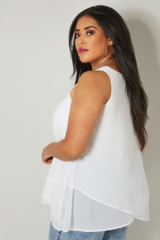 YOURS LONDON White Layered Chiffon Top, plus size 16 to 32