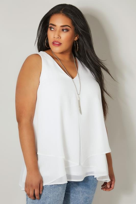 Plus Size Blouses & Shirts YOURS LONDON White Layered Chiffon Top With Free Necklace