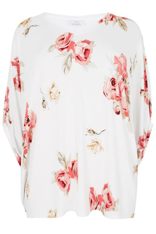 Jersey Tops YOURS LONDON White & Multi Floral Print Oversized Top With Studded Details 156324