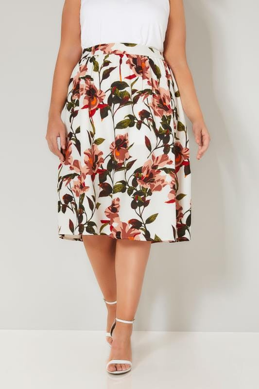 Plus Size Midi Skirts YOURS LONDON White & Tropical Floral Skirt