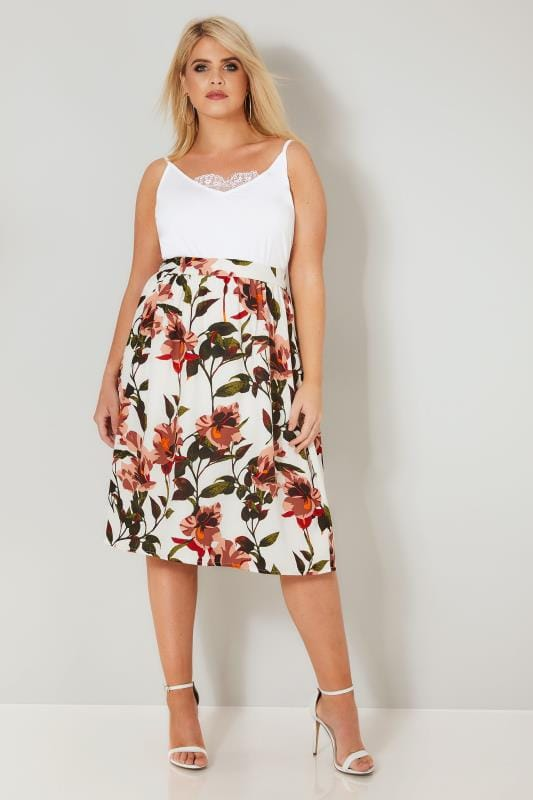 YOURS LONDON White Floral Midi Skirt