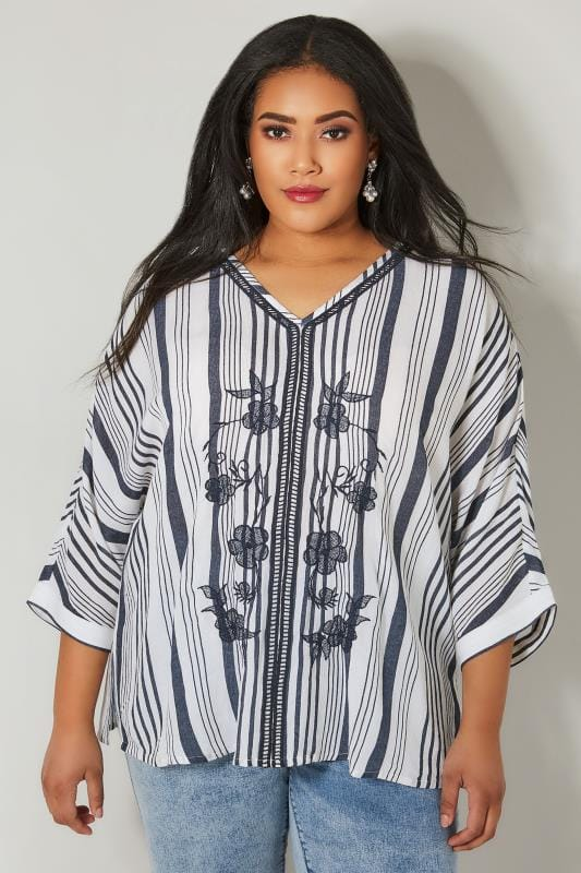 Plus Size Day Tops YOURS LONDON White & Navy Floral Embroidered Cape Top