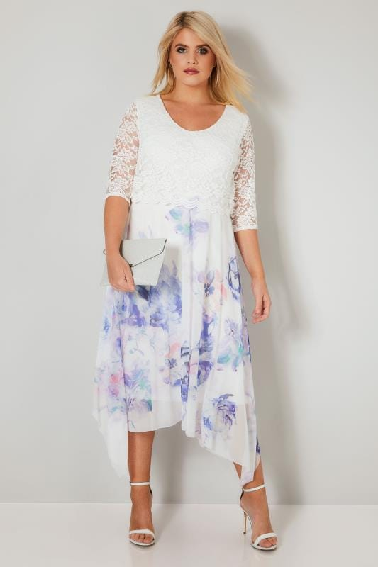 YOURS LONDON White & Blue Floral Dress With Lace Overlay
