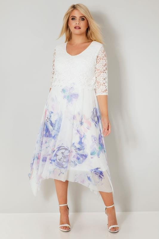 Plus Size Skater Dresses YOURS LONDON White & Blue Floral Dress With Lace Overlay