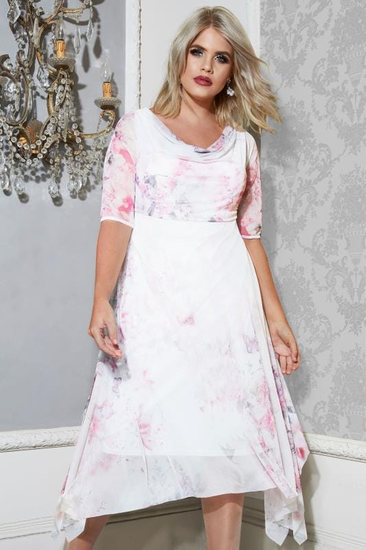 Plus Size Evening Dresses YOURS LONDON White & Pink Floral Mesh Dress With Cowl Neck & Hanky Hem