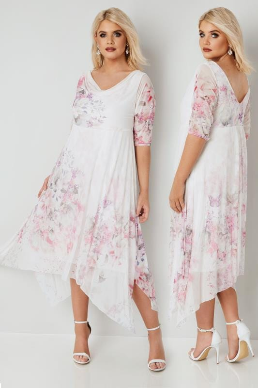 Plus Size Evening Dresses YOURS LONDON White & Pink Floral Mesh Hanky Hem Dress