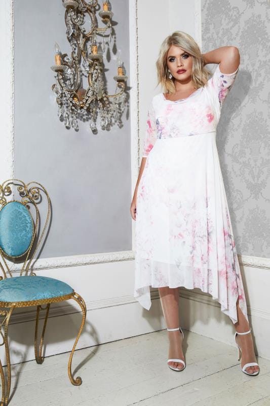 YOURS LONDON White & Pink Midi Dress With Cowl Neck