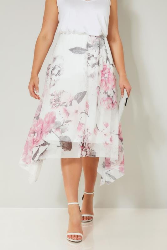 Plus Size Midi Skirts YOURS LONDON White & Pink Floral Rose Hanky Hem Mesh Skirt