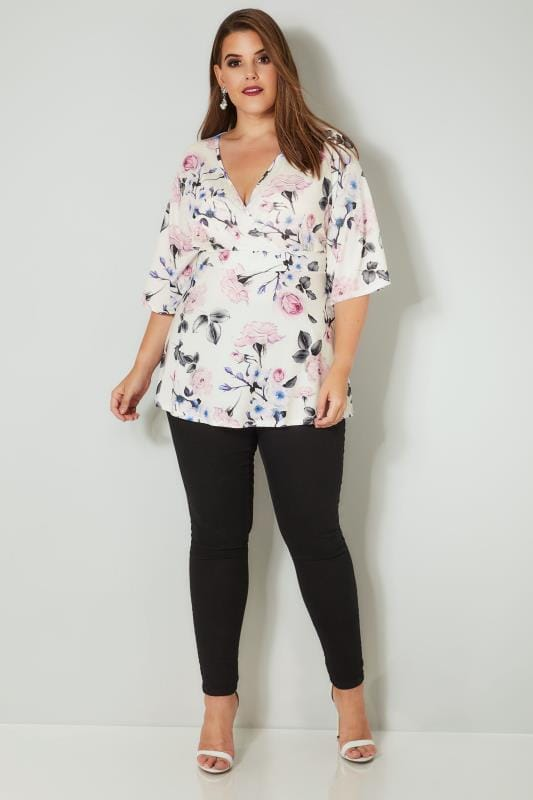 YOURS LONDON White & Pink Floral Jersey Wrap Top