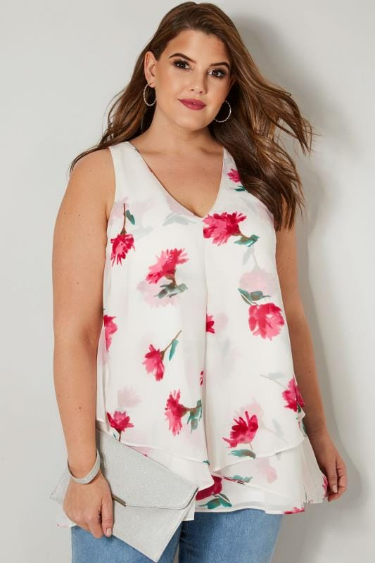 Plus Size Vests & Camis YOURS LONDON White & Pink Layered Top With Free Necklace
