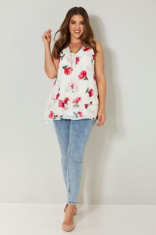 YOURS LONDON White & Pink Layered Top