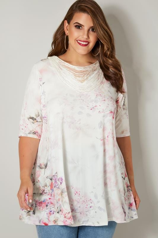 Plus Size Smart Jersey Tops YOURS LONDON White & Pink Jersey Top With Beaded Necklace Trim