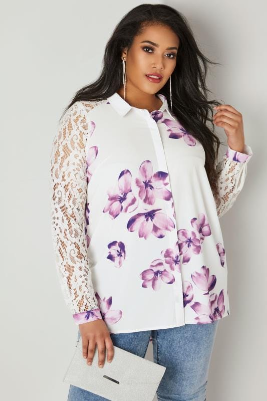 Plus Size Shirts YOURS LONDON White & Purple Floral Lace Shirt