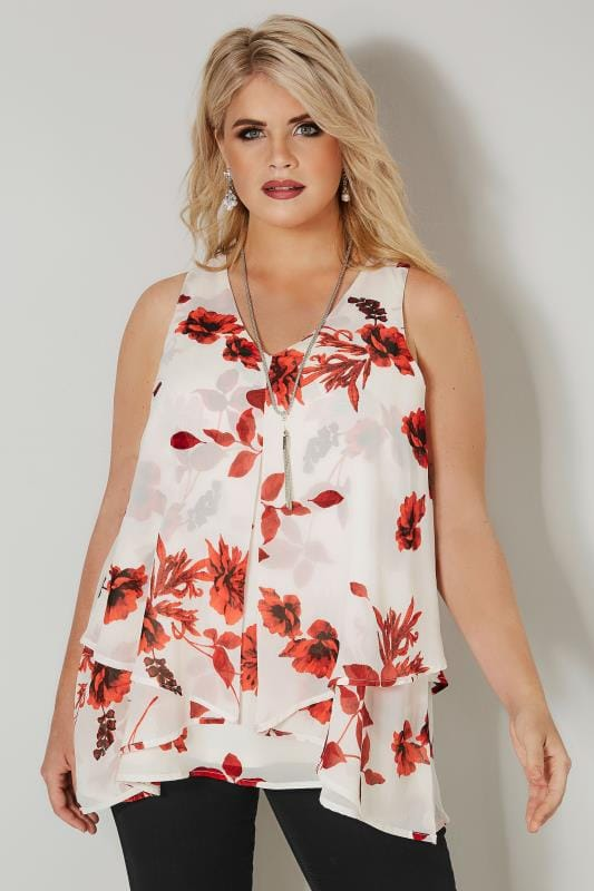 YOURS LONDON White & Red Floral Layered Chiffon Top With Free Necklace