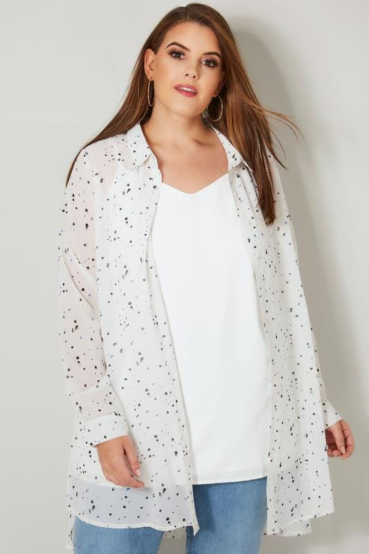 Plus Size Shirts YOURS LONDON White Spotted Chiffon Longline Shirt