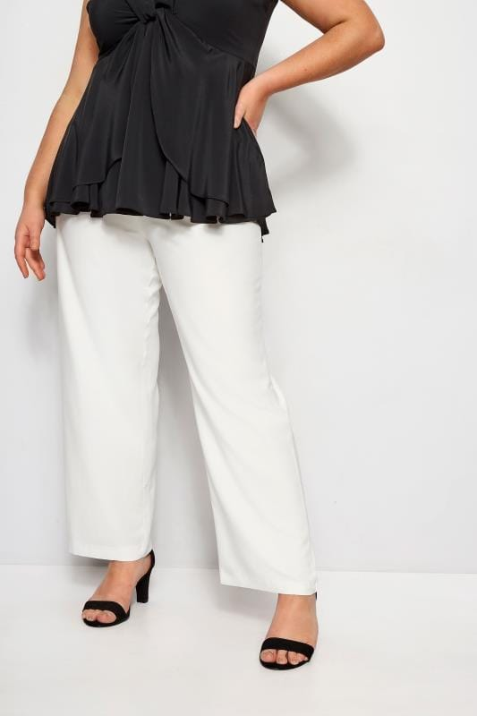 Plus Size Straight Leg Pants YOURS LONDON White Straight Leg Trousers