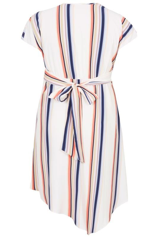 YOURS LONDON White Stripe Asymmetric Wrap Dress