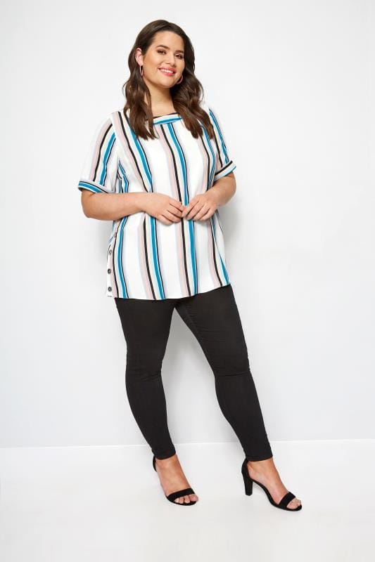 YOURS LONDON White Stripe Button Side Blouse