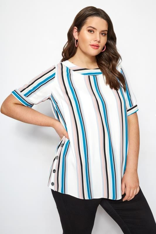 0a7b8538531c78 Plus Size Blouses YOURS LONDON White Stripe Button Side Blouse