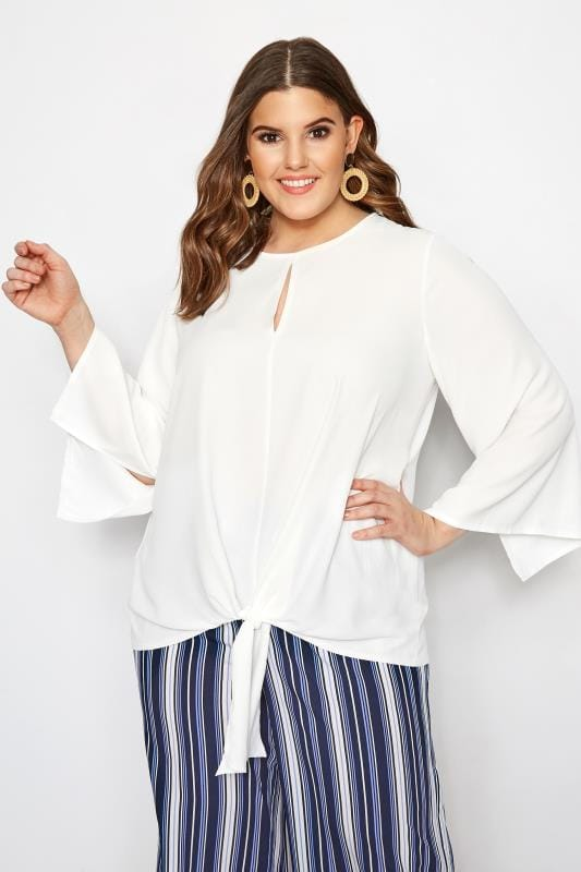 Plus Size Blouses YOURS LONDON White Tie Front Blouse