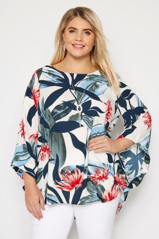Plus Size Blouses YOURS LONDON White Tropical Leaf Cape Top