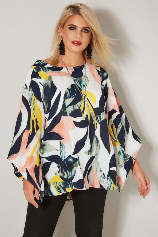 Plus Size Blouses YOURS LONDON White Tropical Print Cape Top With Free Necklace