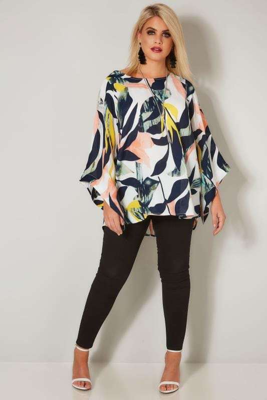 YOURS LONDON White Tropical Cape Top With Free Necklace