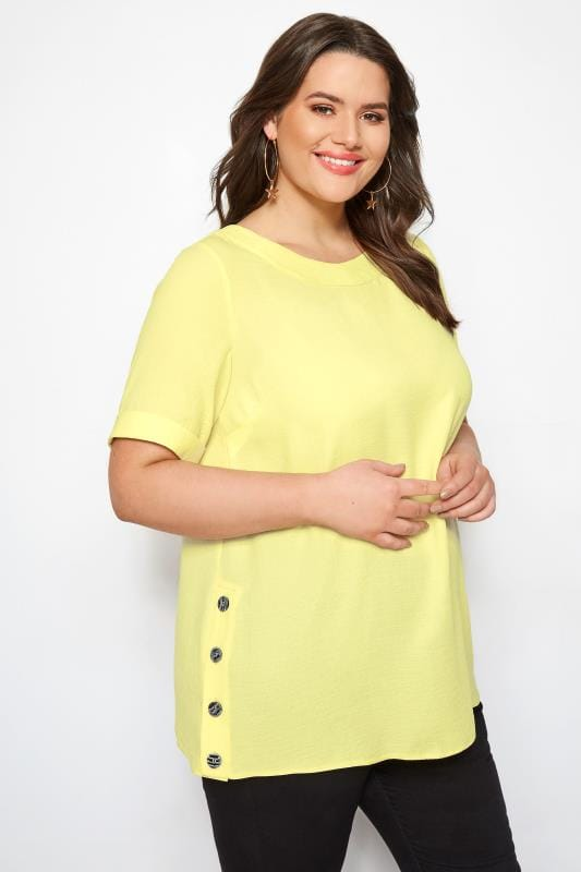 Plus Size Blouses YOURS LONDON Yellow Button Side Blouse