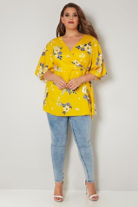 YOURS LONDON Yellow Floral Wrap Blouse With Kimono Sleeves