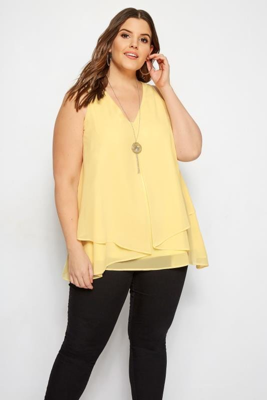 Plus Size Blouses YOURS LONDON Yellow Layered Chiffon Top