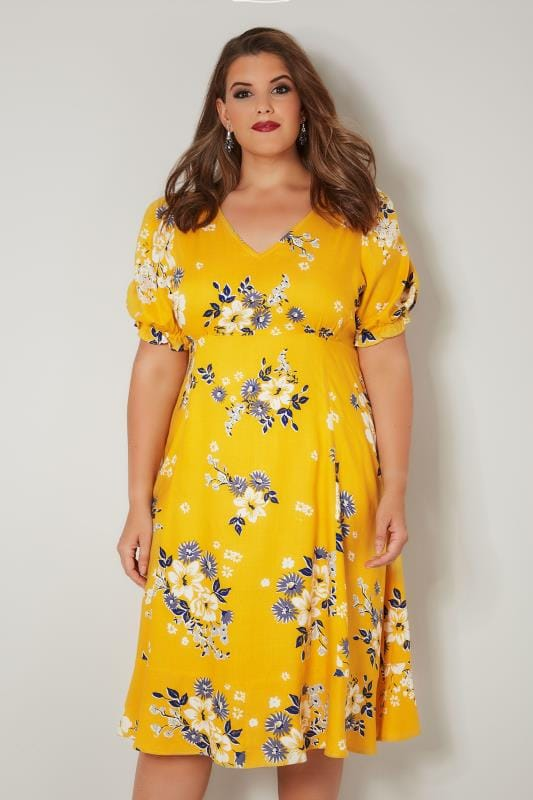 duży rozmiar Sukienki Midi  YOURS LONDON Yellow Floral Tea Dress