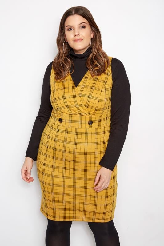 Plus Size Pinafore Dresses Yellow Wrap Check Pinafore Dress