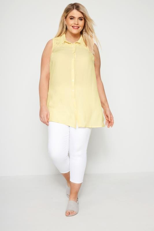 Yellow Broderie Sleeveless Shirt