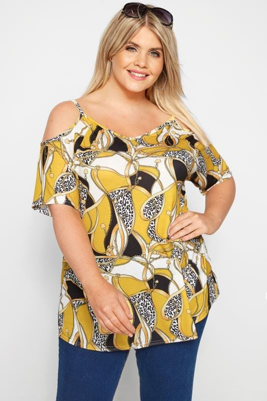 Plus Size Bardot & Cold Shoulder Tops Yellow Chain Cold Shoulder Top