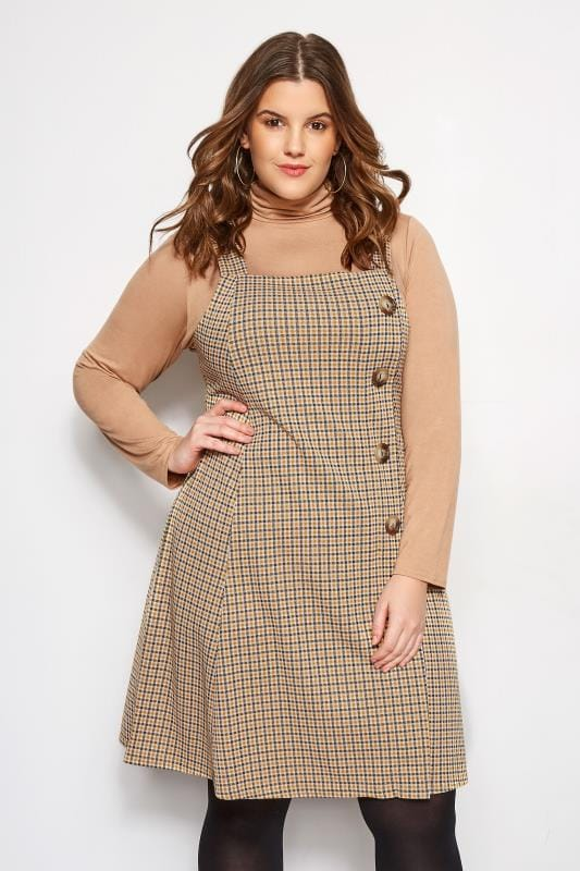 Plus Size Pinafore Dresses Yellow Check Horn Button Pinafore