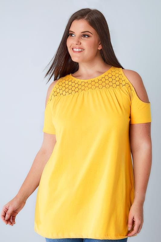 Bardot & Cold Shoulder Tops Yellow Cold Shoulder Jersey Top With Lace Yoke 132056