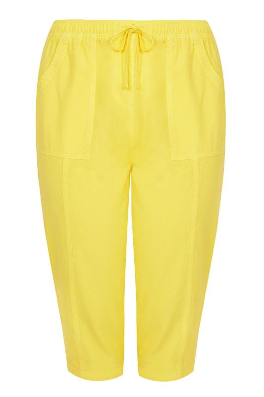 Plus Size Cool Cotton Trousers Yellow Cotton Cropped Trousers