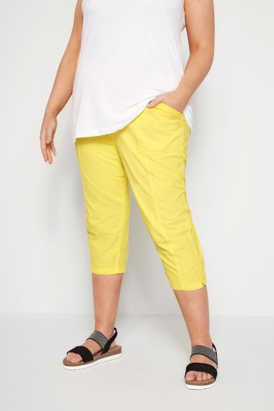 Plus Size Cool Cotton Trousers Lemon Yellow Cotton Cropped Trousers