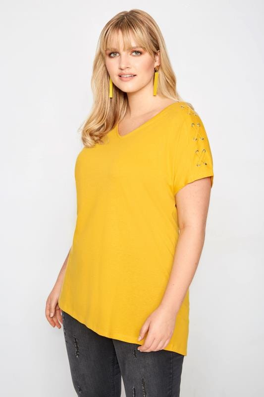 Plus Size Jersey Tops Yellow Eyelet Sleeve T-Shirt