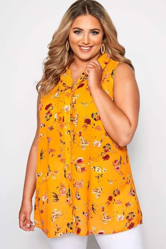 Plus Size Yellow Floral Button Up Frill Blouse