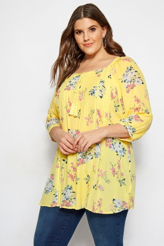 4a9bafbd35a Plus Size Day Tops Yellow Floral Gypsy Top
