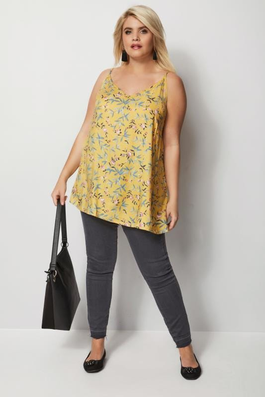 Yellow Floral Woven Cami Top