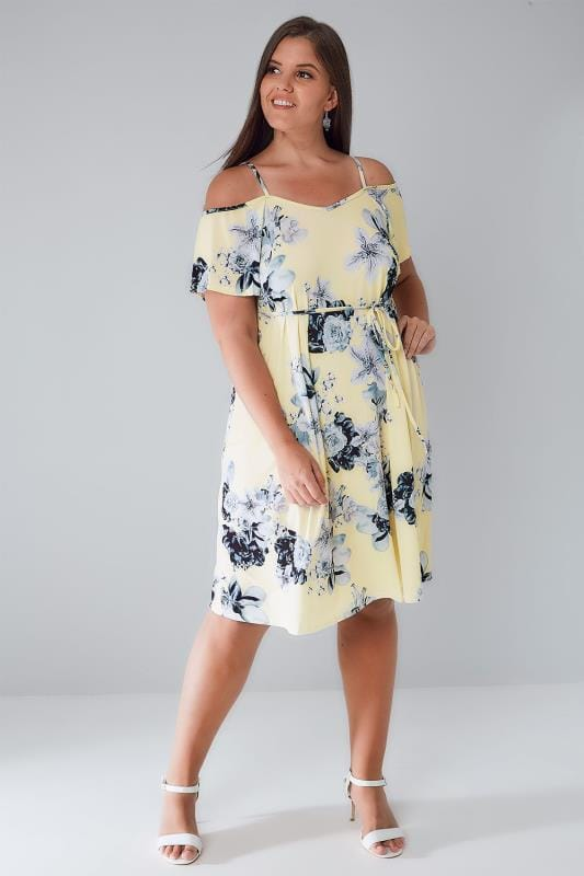 Yellow Amp Grey Floral Cold Shoulder Jersey Cami Dress With