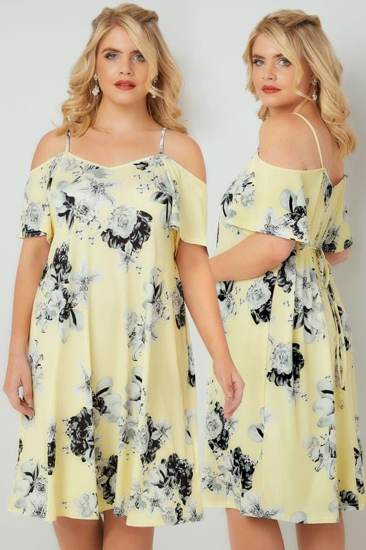 Plus Size Party Dresses Yellow & Grey Floral Cold Shoulder Jersey Cami Dress With Waist Tie