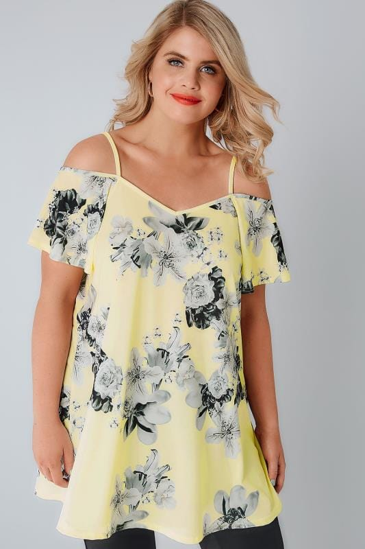Yellow & Grey Floral Cold Shoulder Jersey Cami Top