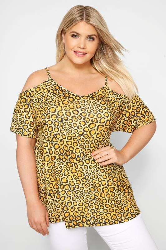 Plus Size Bardot & Cold Shoulder Tops Yellow Leopard Print Cold Shoulder Top