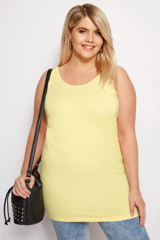 Plus Size Vests & Camis Yellow Longline Vest
