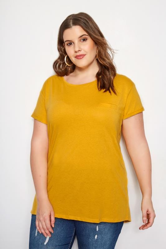 Plus Size Basic T-Shirts & Vests Yellow Mock Pocket T-Shirt