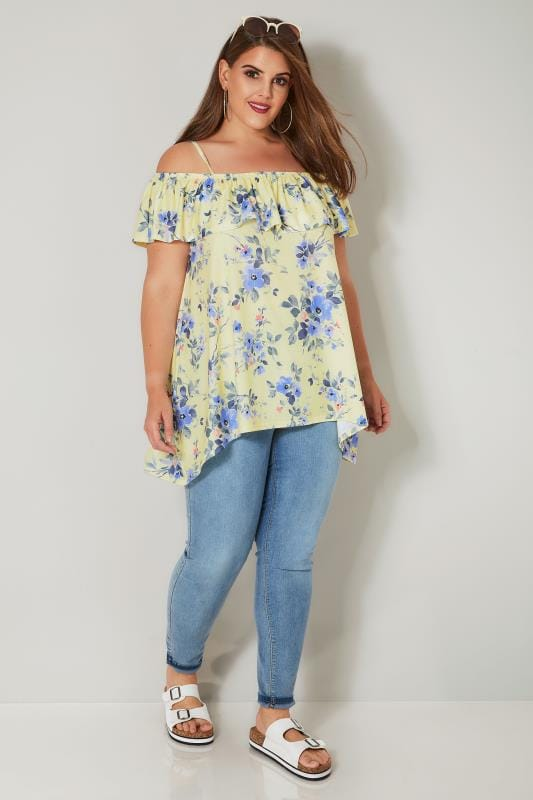 Yellow & Multi Floral Bardot Top With Hanky Hem