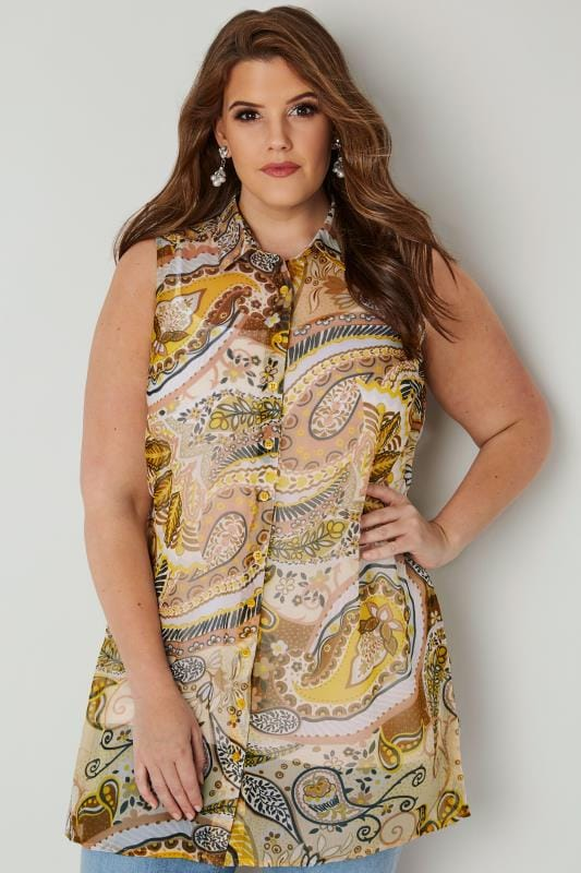 Yellow Paisley Longline Sleeveless Shirt